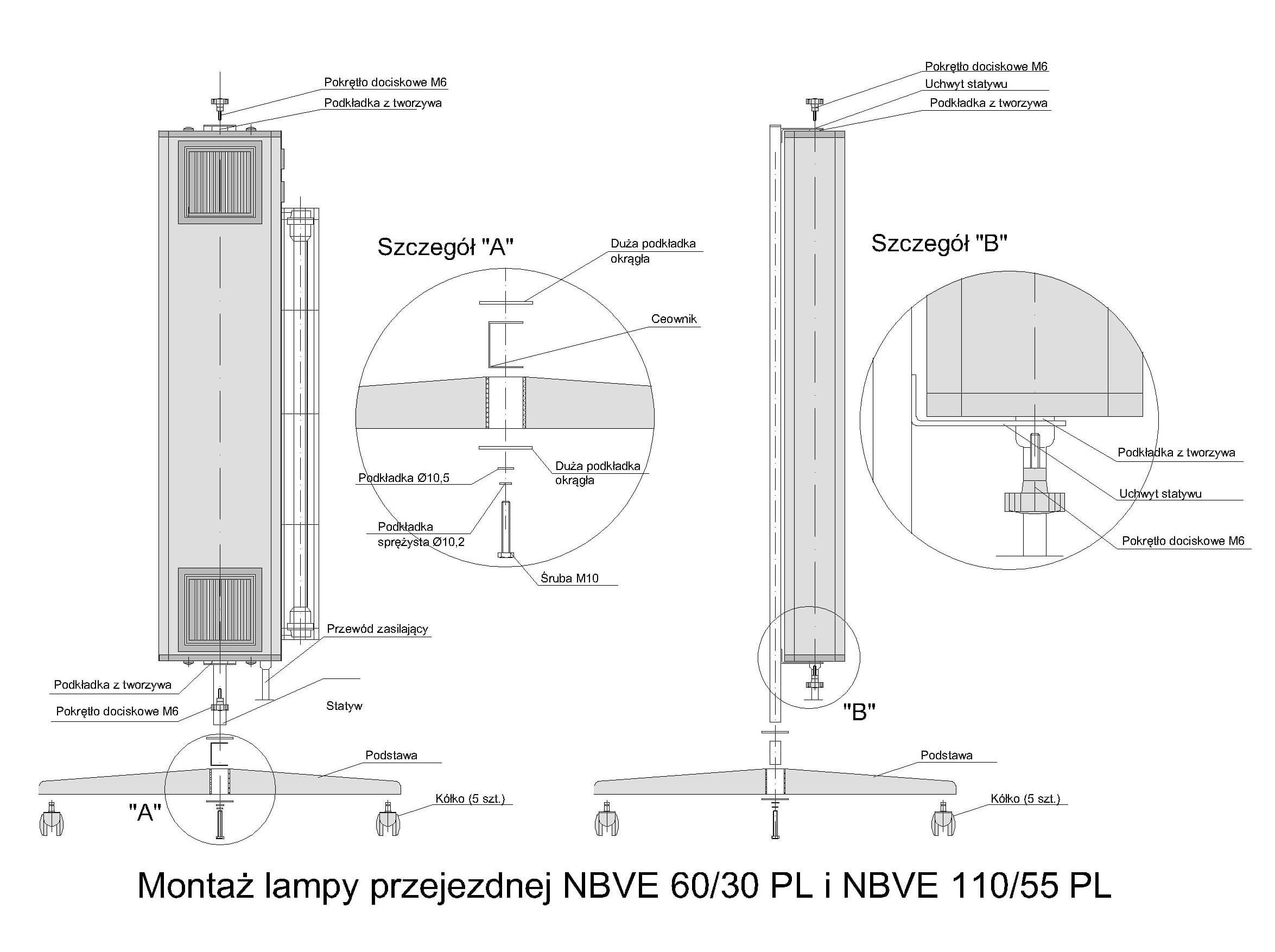 Schemat montażu lampy NBVE na statywie